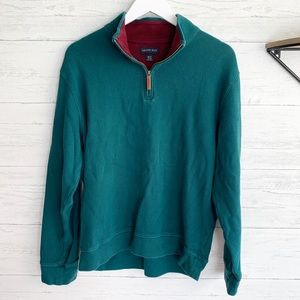 Land's End Green 1/4 zip sweater